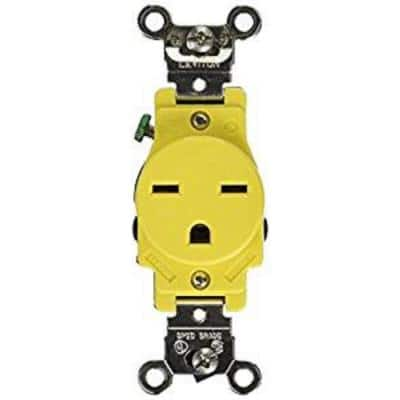 15 Amp Industrial Grade Heavy Duty Corrosion Resistant Self Grounding Single Outlet, Yellow