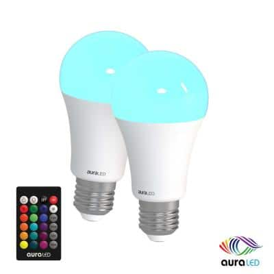 60-Watt Equivalent A19 Standard Dimmable with Remote Aura Decorative LED Light Bulb Multi-Color (2-Pack)