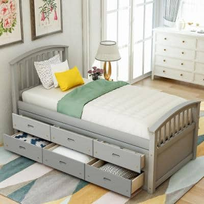 6-Drawers Gray Twin Size Platform Storage Solid Wood Bed