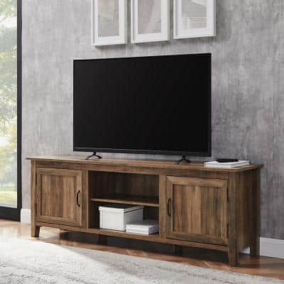 70 in. Rustic Oak Composite TV Stand Fits TVs Up to 78 in. with Storage Doors