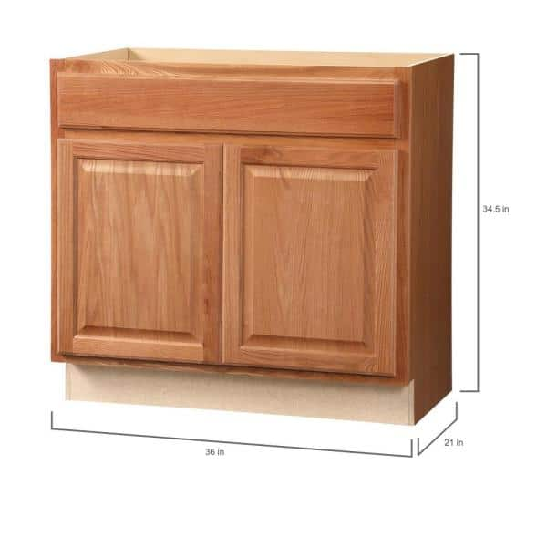 Hampton Bay Hampton Assembled 36 X 34 5 X 21 In Bathroom Vanity Base Cabinet In Medium Oak Kvsb36 Mo The Home Depot
