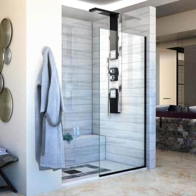 Linea 30 in. x 72 in. Semi-Frameless Fixed Shower Screen in Satin Black without Handle