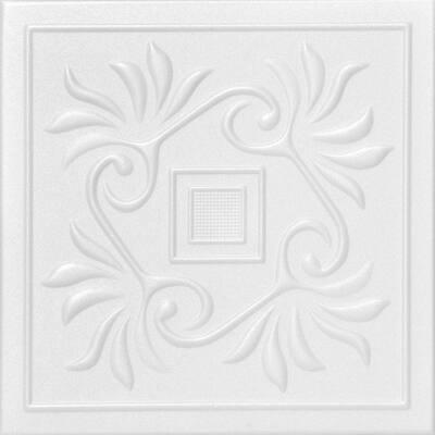 Cockatoos 1.6 ft. x 1.6 ft. Glue Up Foam Ceiling Tile in Plain White (21.6 sq. ft./case)