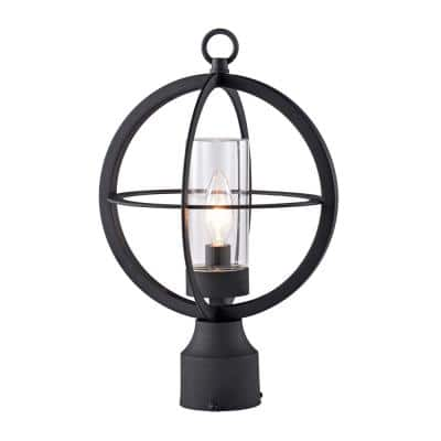 1-Light Black Outdoor Post Lantern with Clear Glass Tube