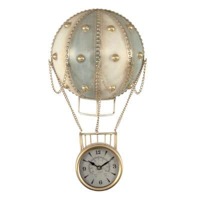 Metal Hot Air Balloon Gold Chained Carriage Round Faced Clock