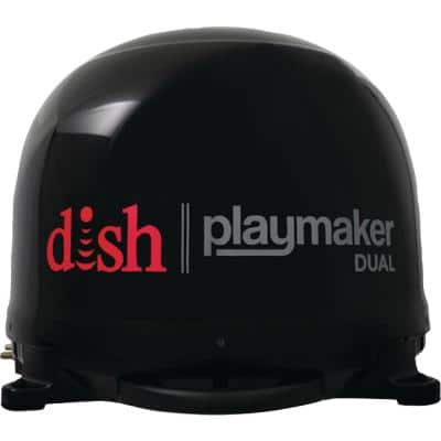 Black Dish Playmaker Dual Portable Satellite RV TV Antenna without Receiver