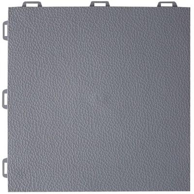 StayLock Orange Peel Top Gray 12 in. x 12 in. x 0.56 in. PVC Plastic Interlocking Basement Floor Tile (Case of 26)
