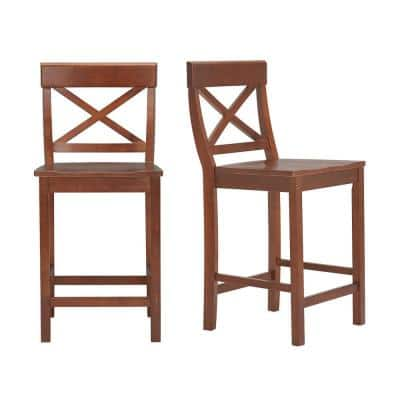 Cedarville Walnut Finish Counter Stool with Cross Back (Set of 2) (19.42 in. W x 38.22 in. H)