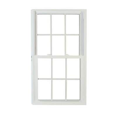 35.75 in. x 45.25 in. 70 Series Pro Double Hung White Vinyl Window with Buck Frame and Grilles
