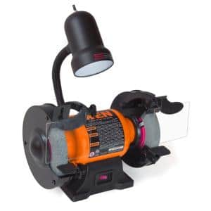 6 in. 2.1 Amp Single Speed Bench Grinder with Flexible Work Light