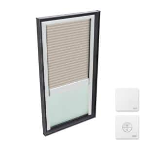 22-1/2 x 46-1/2 in. Fixed Curb Mount Skylight w/ Tempered LowE3 Glass & Classic Sand Solar Powered Light Filtering Blind