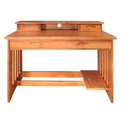 Solid Pine Student Desk with Hutch in Honey Finish.