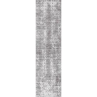 Deedra Misty Contemporary Gray 3 ft. x 20 ft. Runner