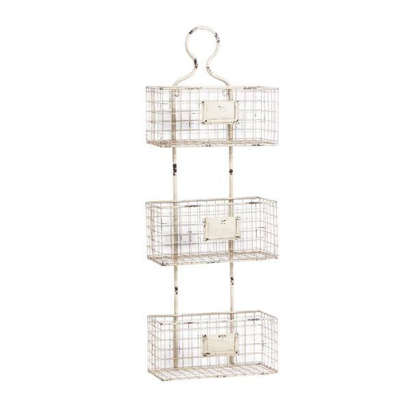Litton Lane 13 In X 37 In Vintage Style Distressed White Metal Basket Wall Shelf 34916 The Home Depot