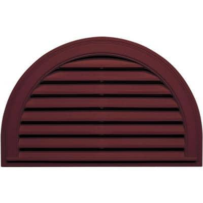 34.1875 in. x 22.128 in. Half Round Red Plastic UV Resistant Gable Louver Vent