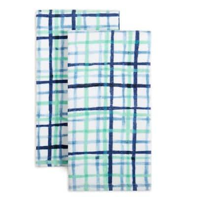 Watercolor Blue Plaid Cotton Kitchen Towel Set (Set of 2)