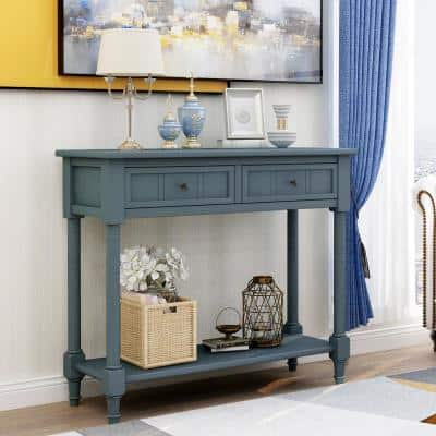 35.43 in. L Navy Daisy Series Console Table Traditional Design with 2-Drawers and Bottom Shelf