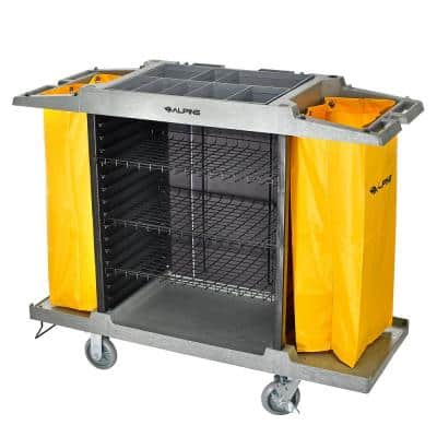 4-Shelf PVC Janitorial Platform Cleaning Cart with 2 Yellow Vinyl Bags