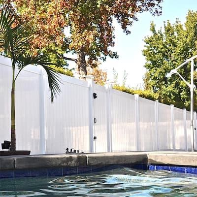 Pembroke 5.4 ft. W x 4 ft. H White Vinyl Privacy Fence Gate Kit
