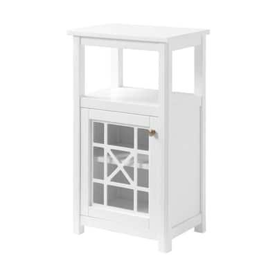 Derby 17 in. W x 12 in. D x 29 in. H White Wood Deluxe Floor Storage Linen Cabinet
