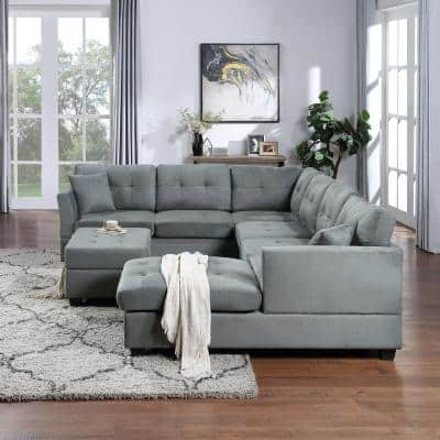 4 Piece Gray Polyester 6 Seats U-Shape Right Facing Sectionals Sofa Couch with Storage Ottoman and Two Pillow