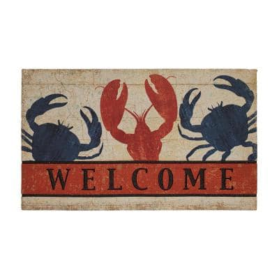 Fresh Nautical Welcome 18 in. x 30 in. Recycled Rubber Door Mat