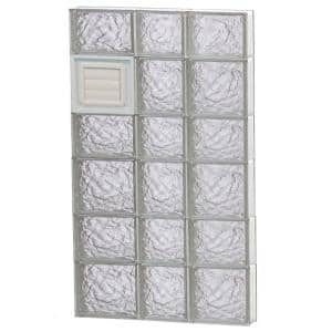 21.25 in. x 40.5 in. x 3.125 in. Frameless Ice Pattern Glass Block Window with Dryer Vent