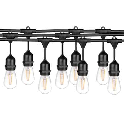 48 FT LED Outdoor\Indoor Waterproof String Lights, 15  Sockets, 16 S14 LED Edison Bulbs, Black