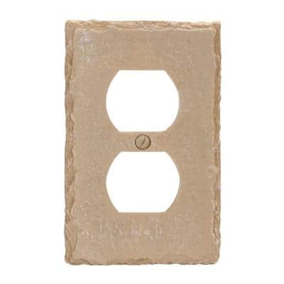 Faux Slate 1 Gang Duplex Resin Wall Plate - Almond