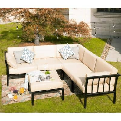 6-Piece Metal Outdoor Sectional Set with Beige Cushions