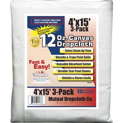 4 ft. x 15 ft. 12 oz. Natural Canvas Drop Cloth (3-Pack)