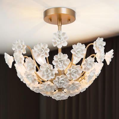 Modern Round Ceiling Light Nova 3-Light Gold Semi-Flush Mount with White Porcelain Blooms