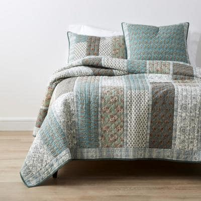 Jameela Multicolored Floral Cotton Patchwork King Quilt