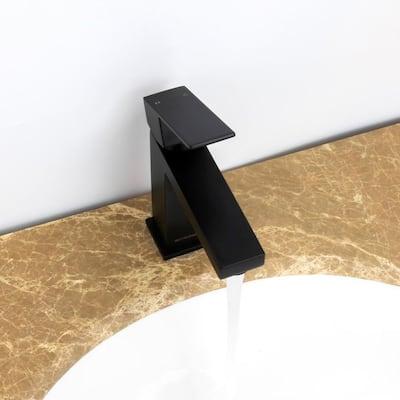 WADE Modern Single-Hole Single-Handle Bathroom Faucet in Black