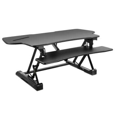 48.5 in. W, Electric Standing Desk Converter with Large Platform, Convert from Sit to Stand, Black