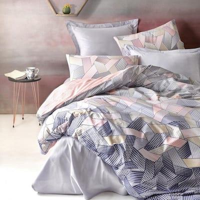 Blush in Gray Duvet Cover Set, Full Size Duvet Cover, 1-Duvet Cover, 1-Fitted Sheet and 2-Pillowcases, Iron Safe
