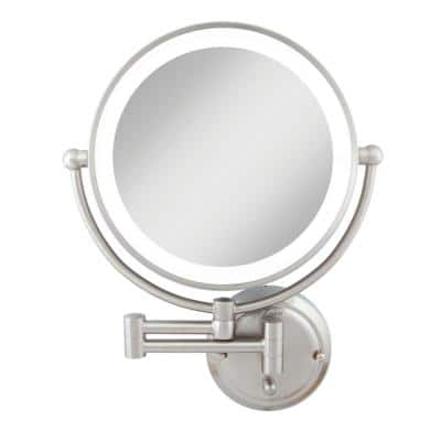 Glamour 18 in. H x 14 in. W Fluorescent Wall Mount Bi-View 5X/1X Magnification Hardwired Makeup Mirror in Satin Nickel