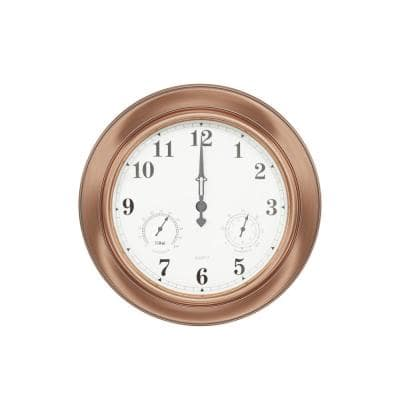 """Indoor/Outdoor Copper 18"""" Wall Clock with Waterproof Thermometer and Hygrometer"""