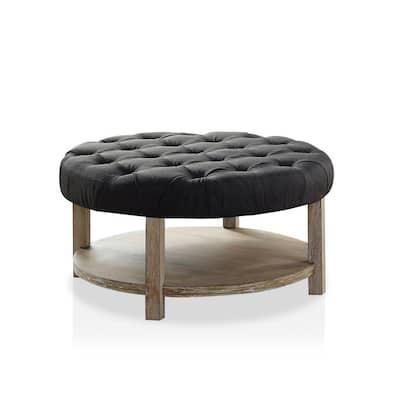 Ipek Dark Gray Round Button Tufted Ottoman