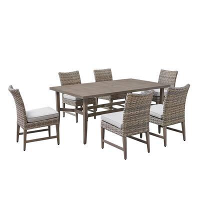 Bottega 7-Piece Wicker Outdoor Dining Set with Beige Cushion