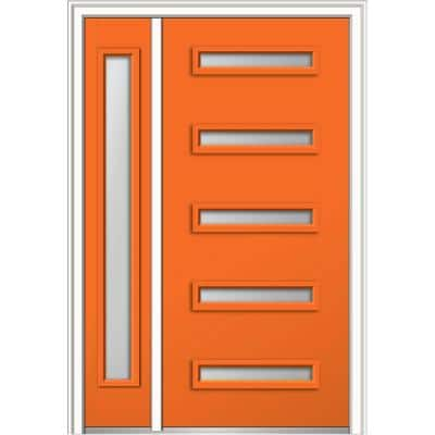53 in. x 81.75 in. Davina Frosted Glass Right-Hand Inswing 5-Lite Modern Painted Steel Prehung Front Door with Sidelite