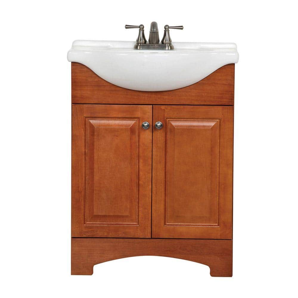 Glacier Bay Chelsea 26 In W X 36 In H X 18 In D Bathroom Vanity In Nutmeg With Porcelain Vanity Top In White Ch24eup2com N The Home Depot