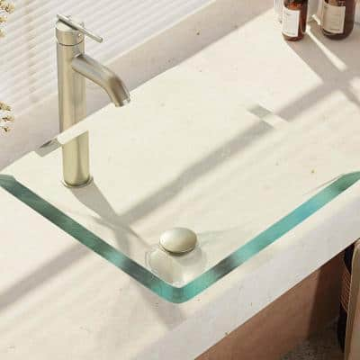 Glass Vessel Sink in Crystal with R9-7001 Faucet and Pop-Up Drain in Brushed Nickel
