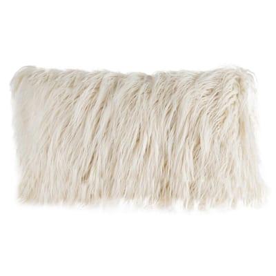 Ivory 12 in. W x 20 in. L Faux Mongolian Fur Decorative Lumbar Throw Pillow