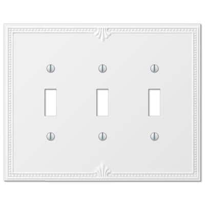 Richmond 3 Gang Toggle Composite Wall Plate - White