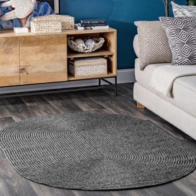 Lefebvre Casual Braided Charcoal 10 ft. Indoor/Outdoor Round Rug
