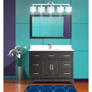 Genoa 48 in. W x 22 in. D x 36 in. H Vanity in Espresso with Single Basin Vanity Top in White Phoenix Stone and Mirror