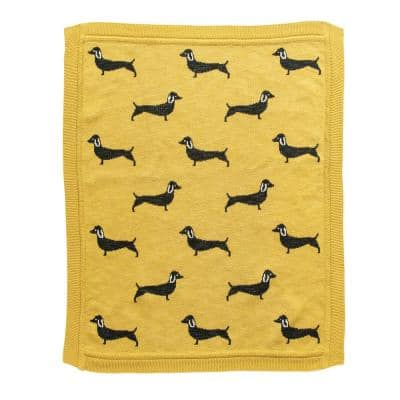 Chartreuse Green Cotton Knit with Dachshund Dogs Baby Blanket