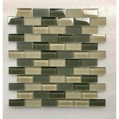 Free Flow Fog Green Brick Mosaic 1 in. x 2 in. Glass Wall Pool and Floor Tile (0.96 Sq. ft.)