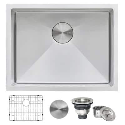 Tight Radius 23 in. x 18 in. 16-Gauge Stainless Steel Single Bowl Undermount Deep Laundry Utility Sink